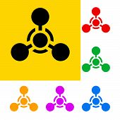 image of chemical weapon  - Warning sign of chemical weapon with color variations - JPG