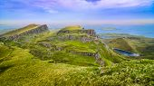 pic of landslide  - Panoramic view of Quiraing coastline in Scottish highlands United Kingdom - JPG