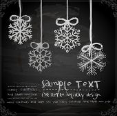 Set of Hand Drawn Snowflakes, Chalkboard texture. Chalk Design.