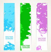 Vertical Abstract Handdrawing By Ink Banner Set
