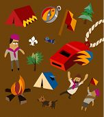 Camping set flat. childish Vector illustration