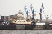Huge Ship In Docks At Hamburg Harbour