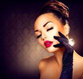 Beauty Fashion Glamour Girl Portrait. Vintage Style Girl Wearing Gloves. Jewellery. Jewelry. Glamor