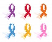Vector Illustration Of A Set Of Of Awareness Ribbons.