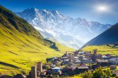 Ushguli that consists of four small villages located at the foot of Mt. Shkhara and Enguri gorge. Upper Svaneti, Georgia, Europe. Caucasus mountains. Beauty world.