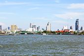 Thailand, Bangkok, View Of The Chao Praya River And The Skyline Of The City