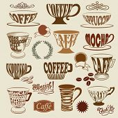 Coffee Shop Icons and Symbols - Set of coffee shop signs, with coffee cups, mugs and decorative elements, including swirls, coffee beans, wreath and price tags