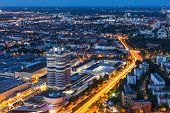 MUNICH, GERMANY - MAY 11: Aerial view of BMW Museum and Welt and factory and Munich from Olympic Tow