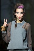 ZAGREB, CROATIA - NOVEMBER 22: Fashion model wearing clothes designed by Iggy Popovic on the Zagreb