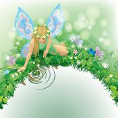 Raster version of vector illustration with a fairy girl with blue wings seated near the water bordered by plants and flowers