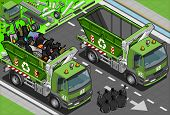 Isometric Garbage Truck With Container In Front View