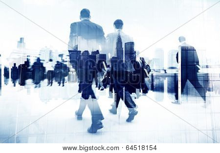 Abstract Image of Business People Walking on the Street poster