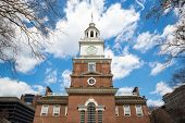 Independence Hall in Philadelphia Pennsylvania from the south side, site of the signing of the Decla