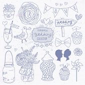 Romantic vector set in blue colors. A lot of vector elements: tablet, jar, bouquet, bow, cupcake, ri
