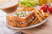 stock photo of green pea  - A delicious hot turkey sandwich with gravy green peas and french fries - JPG