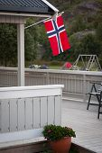White House With Flag In Old Part Of Stavanger, Norway