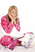 Woman Pink Pajamas Tissue Sit Hands By Face Sad