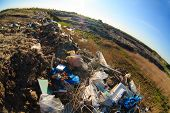 pile of garbage and plastic waste at the dump landfill pollution