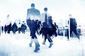 stock photo of worker  - Abstract Image of Business People Walking on the Street - JPG