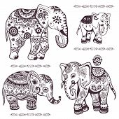 stock photo of indian elephant  - Set of hand drawn isolated ethnic elephants - JPG