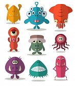 Many cute doodle monsters