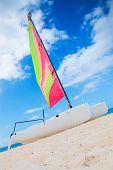 catamaran sailing boat on the beach of punta cana, dominican republic