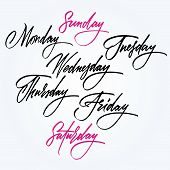 Days of the week. Calligraphy.