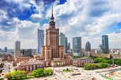 Warsaw, Poland. Aerial view Palace of Culture and Science and downtown business skyscrapers, city center.