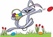 stock photo of peter cottontail  - Cartoon Easter Bunny in vector and Hi res raster art formats - JPG
