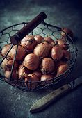 Shallots in a Rustic Basket