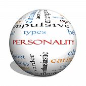 picture of character traits  - Personality 3D sphere Word Cloud Concept with great terms such as cheerful character behavior and more - JPG