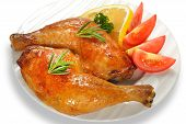 picture of thighs  - Grilled chicken thigh with vegetables on white plate - JPG
