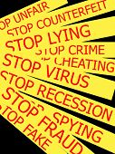 Set Actual Slogans Written On A Yellow Ribbon On A Black Background