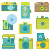 Set of Flat Photo Cameras - in vector