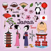 Japan landmarks and cultural icons vector set