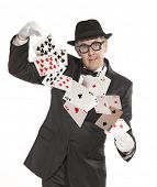 Magician show card  Isolated on white background