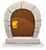 Cartoon Wooden And Stone Hobbit Door