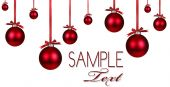 foto of christmas ornament  - Christmas Holiday Background With Hanging Red Ornaments and Copy Space For Your Own Design - JPG