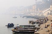 Morning haze at Banaras holy Ghats, Ganges River,India