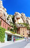 People Are Going To Montserrat Benedictine Monastery, Spain