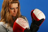 image of pissed off  - Girl with boxing gloves - JPG