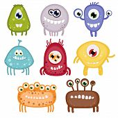 stock photo of monsters  - Set of eight funny toothy monsters - JPG