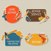 Repair and construction stickers set with working tools.