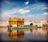 image of gurudwara  - Vintage retro effect filtered hipster style travel image of Sikh gurdwara Golden Temple  - JPG