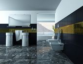 stock photo of wash-basin  - Picture of modern bathroom Interior with wash basin and black tiles - JPG