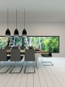 Picture of dining room interior with dining table and setting
