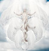 Flying White Angel With Big Wings.