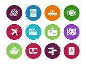 Travel circle icons on white background.