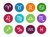 Zodiac circle icons on white background.