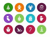 Christmas circle icons on white background.